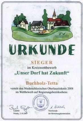 Urkunde Unser Dorf hat Zukunft